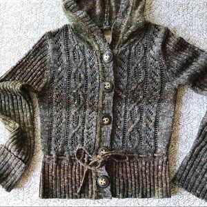 BKE Cropped Hoodie Cardigan Sweater Brown Tweed LS